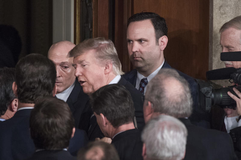 Dan Scavino with President Donald Trump after the president addressed a joint session of Congress on Feb. 28, 2017. (Tom Williams via Getty Images)