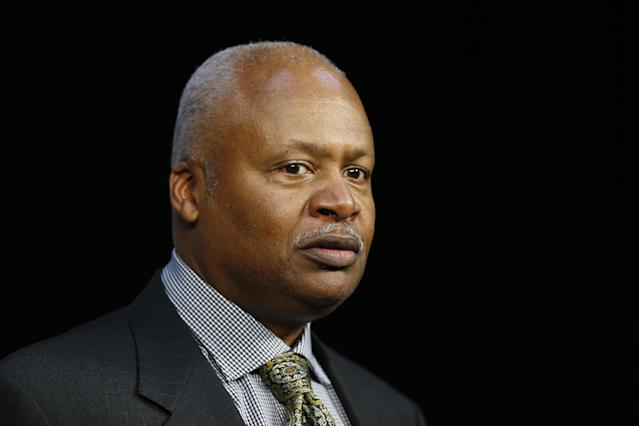 Detroit Lions head coach Jim Caldwell speaks during an NFL football news conference in Allen Park, Mich., Friday, May 9, 2014. The Lions introduced North Carolina tight end Eric Ebron, who was selected 10th overall in Thursday's draft. (AP Photo/Paul Sancya)