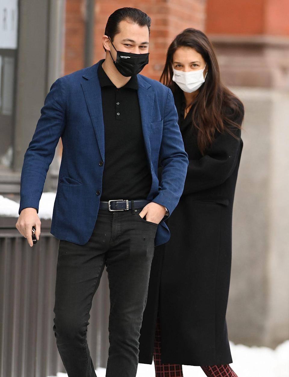 <p>Katie Holmes and boyfriend Emilio Vitolo Jr. share smiles from behind their masks on Friday as they step out on her birthday in N.Y.C.</p>