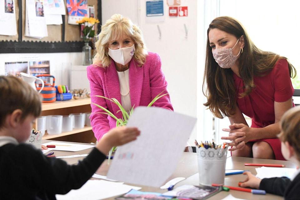 <p>A student at Connor Downs showed Dr. Biden and Kate some of his schoolwork. The pair got to participate in some classroom activities, alongside their panel. </p>