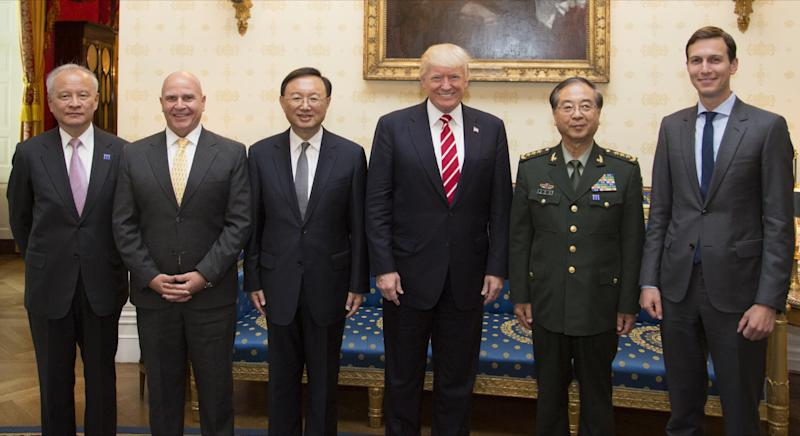 From left, Cui Tiankai, Chinese ambassador to the U.S.; H.R. McMaster, then U.S. national security adviser; Chinese State Councilor Yang Jiechi; President Trump; Fang Fenghui, chief of China's Central Military Commission's joint staff department; and White House senior adviser Jared Kushner