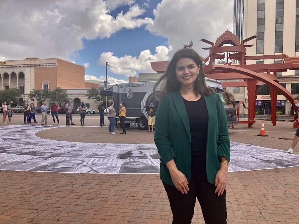 Tucson Mayor Regina Romero assisted a public art demonstration outside Pima County Public Library in support of creating a pathway to citizenship for undocumented immigrants and essential workers on Sep. 1, 2021.