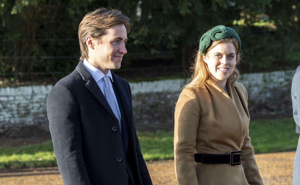 KING'S LYNN, ENGLAND - DECEMBER 25: Princess Beatrice and Edoardo Mapelli Mozziconi attend the Christmas Day Church service at Church of St Mary Magdalene on the Sandringham estate on December 25, 2019 in King's Lynn, United Kingdom. (Photo by UK Press Pool/UK Press via Getty Images)