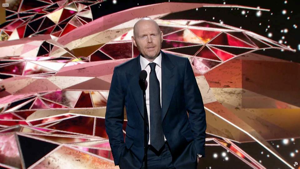 In this screengrab, Bill Burr speaks onstage for the 63rd Annual GRAMMY Awards Premiere Ceremony broadcast on March 14, 2021.