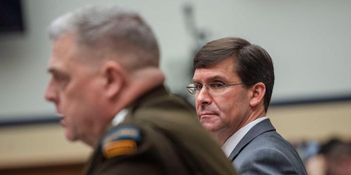 Chairman of Joint Chiefs of Staff Gen. Mark Milley, left, and Defense Secretary Mark Esper on February 26, 2020.