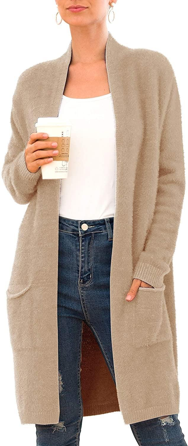 <p>Get cozy with this ultrasoft and plush <span>Qixing Women's Casual Open Front Knit Cardigan</span> ($38).</p>