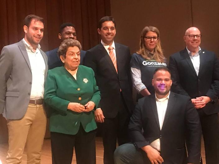 From left: Miami-Dade Democratic Party Chairman Steve Simeonidis poses after a Democratic congressional primary debate in 2018 next to U.S. Rep. Donna Shalala, Michael Hepburn, Matt Haggman, Kristen Rosen Gonzalez, Ricky Junquera (front) and David Richardson.