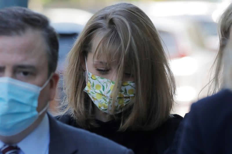 Actor Allison Mack arrives to be sentenced at United States Federal Courthouse in New York City