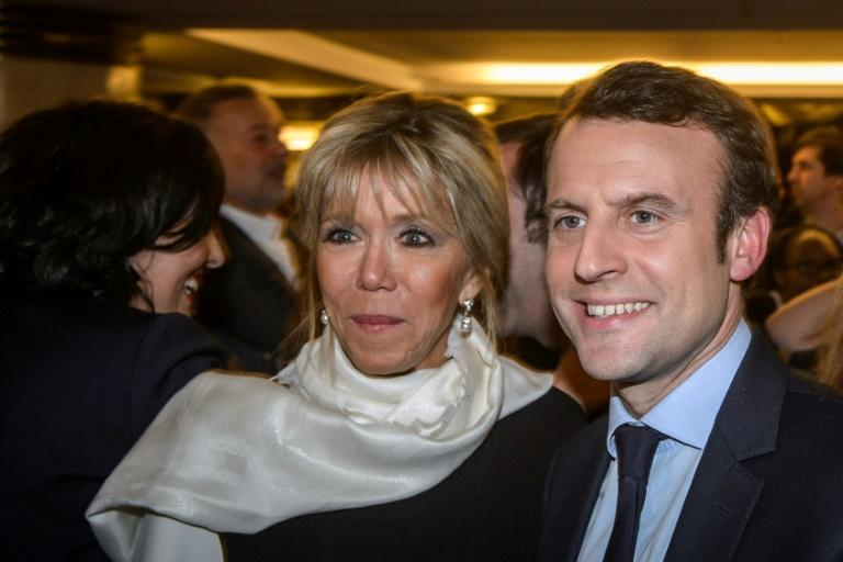 French presidential candidate Emmanuel Macron and his wife Brigitte
