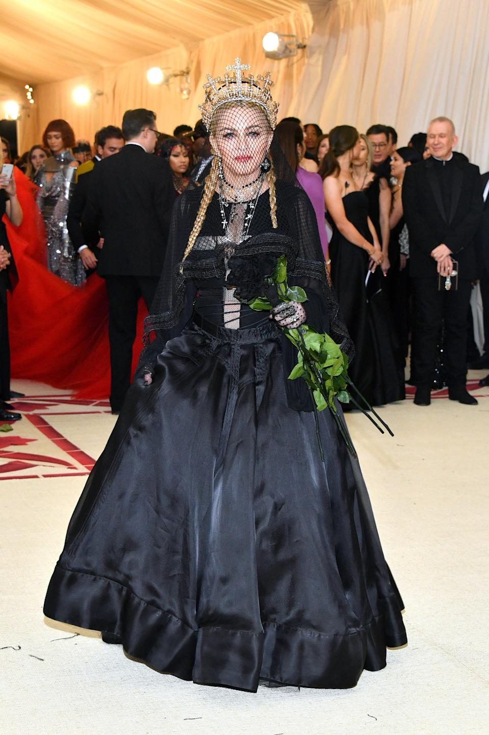 """<h1 class=""""title"""">Madonna in Jean Paul Gaultier and Narcisa Pheres jewelry</h1><cite class=""""credit"""">Photo: Getty Images</cite>"""