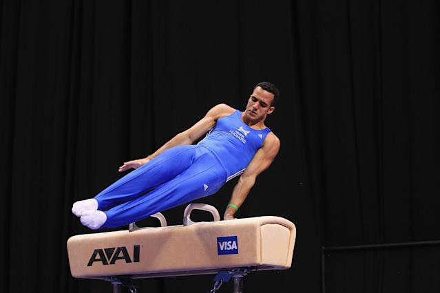 ST. LOUIS, MO - JUNE 7: Danell Leyva competes on the pommel horse during the Senior Men's competition on day one of the Visa Championships at Chaifetz Arena on June 7, 2012 in St. Louis, Missouri. (Photo by Dilip Vishwanat/Getty Images)
