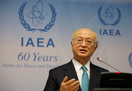 IAEA Director General Amano addresses a news conference in Vienna