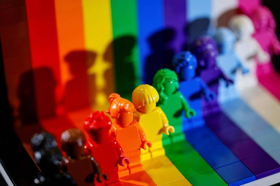 Lego launched a rainbow-themed LGBTQ+ set in May (AFP via Getty Images)