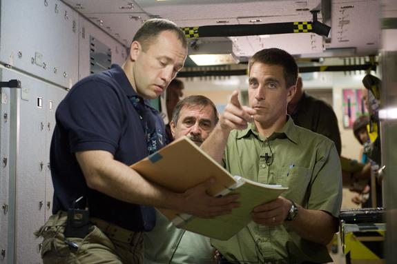 Russian cosmonaut Alexander Misurkin (left) and NASA astronaut Chris Cassidy (right), both Expedition 35/36 flight engineers; along with Russian cosmonaut Pavel Vinogradov, Expedition 35 flight engineer and Expedition 36 commander, participate