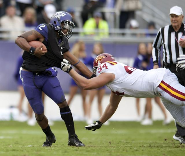 FORT WORTH, TX - OCTOBER 6: Trevone Boykin #2 of the TCU Horned Frogs is chased down by Jake McDonough #94 during the Big 12 Conference game against the Iowa State Cyclones on October 6, 2012 at Amon G. Carter Stadium in Fort Worth, Texas. (Photo by Cooper Neill/Getty Images)