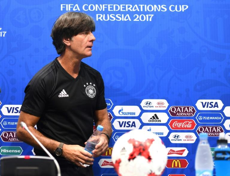 Germany head coach Joachim Loew arrives for a press conference during the Russia 2017 Confederation Cup in Sochi on June 24, 2017