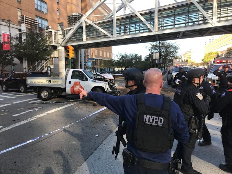 The truck that plowed through a bike lane and killed multiple people in New York City.
