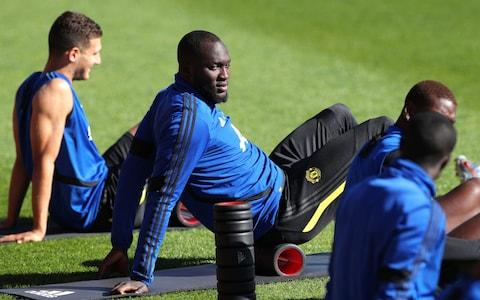 Romelu Lukaku (C) of Manchester United at a training session at the WACA in Perth, Australia - Credit: Rex Features