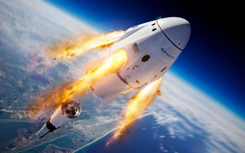 This illustration made available by SpaceX depicts the company's Crew Dragon capsule and Falcon 9 rocket during the uncrewed In-Flight Abort Test for NASA's Commercial Crew Program - SpaceX/SpaceX