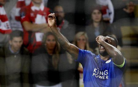 Leicester City's Wes Morgan celebrates scoring their first goal