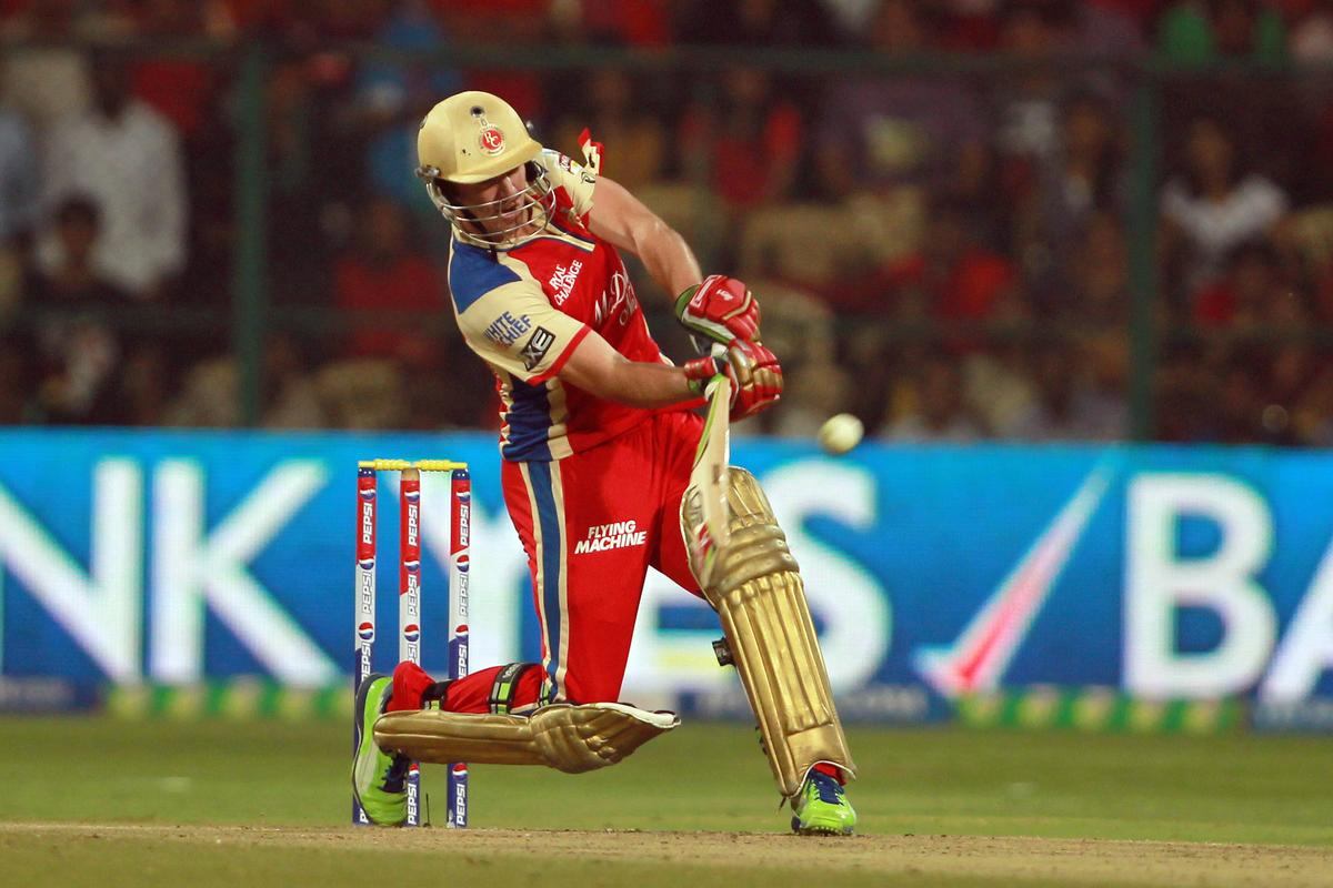 AB de Villiers hits the first of 2 sixes in the super over during match 21 of the Pepsi Indian Premier League between The Royal Challengers Bangalore and The Delhi Daredevils held at the M. Chinnaswamy Stadium, Bengaluru  on the 16th April 2013. Photo by Jacques Rossouw-IPL-SPORTZPICS ...Use of this image is subject to the terms and conditions as outlined by the BCCI. These terms can be found by following this link:..https://ec.yimg.com/ec?url=http%3a%2f%2fwww.sportzpics.co.za%2fimage%2fI0000SoRagM2cIEc&t=1495715912&sig=A49fW5wdb9zDN13XlNmUCw--~C