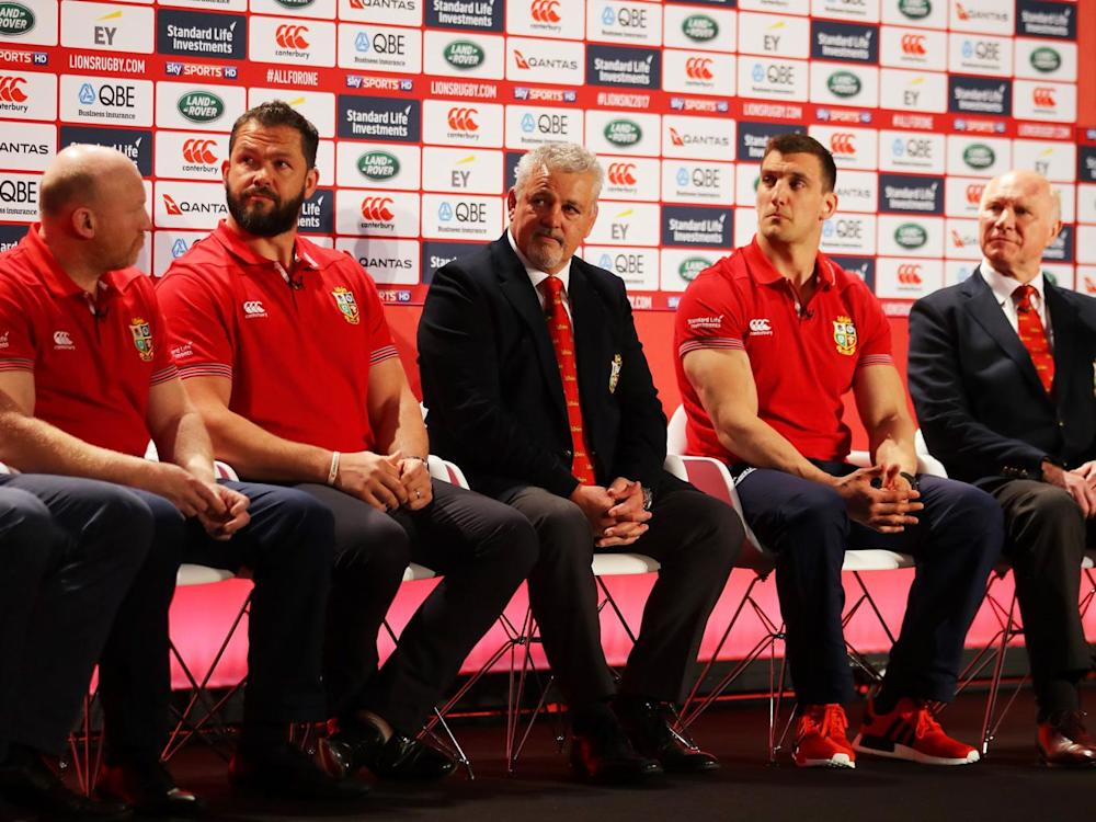 Farrell alongside his fellow Lions coaching staff (Getty)