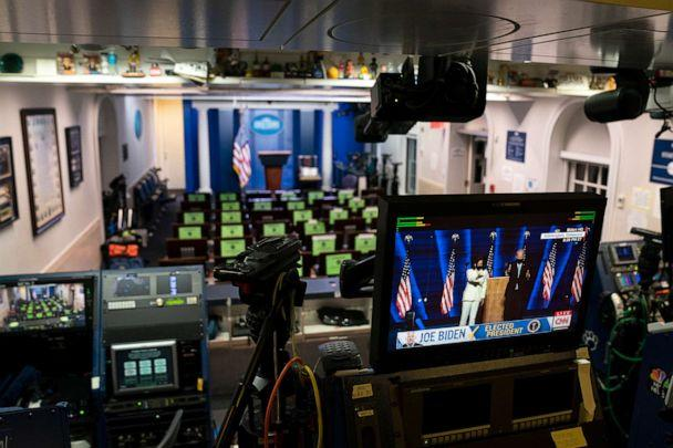 PHOTO: President-elect Joe Biden is shown on a television monitor in the White House briefing room, Nov. 7, 2020, in Washington. (Evan Vucci/AP)
