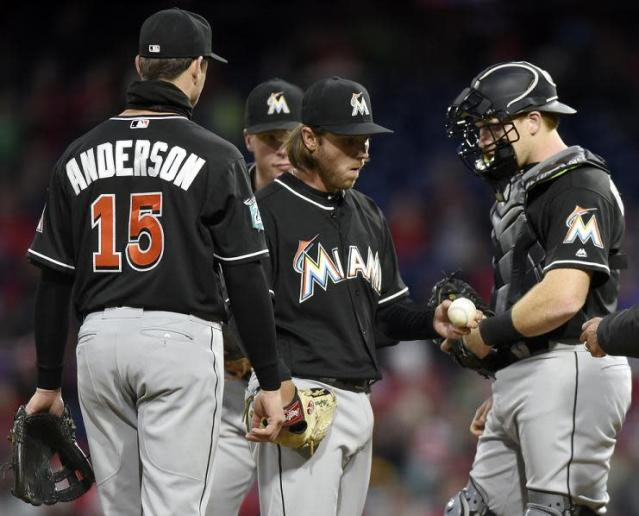 Marlins starter Dillon Peters in removed after allowing his second grand slam in three innings. (AP)