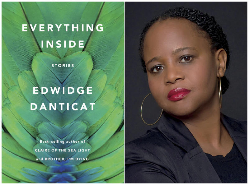 "This combination of photos released by Knopf shows the cover of ""Everything Inside,"" by Edwidge Danticat, left, and a portrait of Danticat. Danticat's story collection has won the National Book Critics Circle award for fiction. (Knopf/left, and Lynn Savarese via AP)"