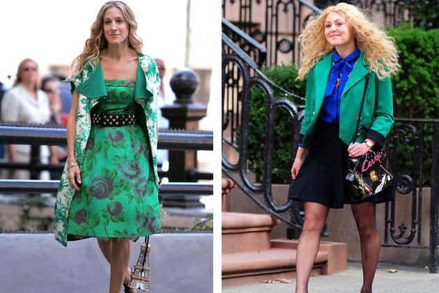 Carrie's sense of style has gotten us green with envy. We love how she works this emerald shade. Her flower on flower monotone look on the right is unforgettable. Who could forget the movie, right? On the left, she matches a short green blazer with an electric blue pussy-bow top that gives off an 80s office vibe.