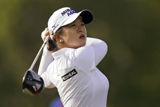 Sei Young Kim, of South Korea, tees off on the 16th hole during the final round of the LPGA Pelican Women's Championship golf tournament Sunday, Nov. 22, 2020, in Belleair, Fla. Kim went on to win the tournament. (AP Photo/Chris O'Meara)