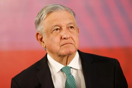 Mexico's President Andres Manuel Lopez Obrador looks on during a news conference at the National Palace in Mexico City