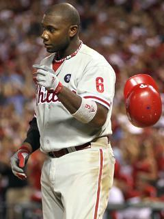 Phillies first baseman Ryan Howard tosses his helmet after striking out in Game 4 of the NLDS. He has a .133 average in the series