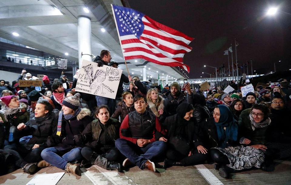 Protesters against a travel ban, at O'Hare airport in Chicago