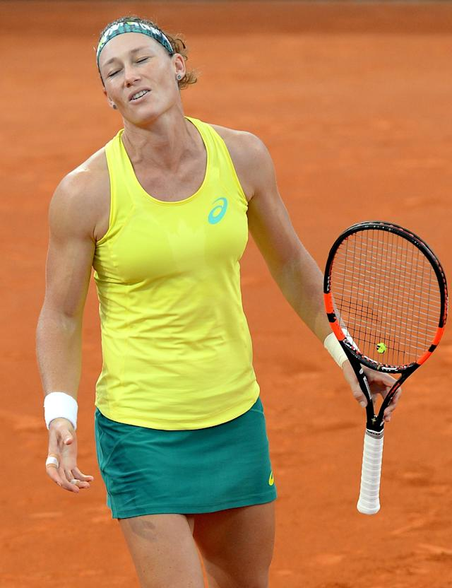 BRISBANE, AUSTRALIA - APRIL 17: Samantha Stosur of Australia looks dejected after losing a point during her match against Coco Vandeweghe of the USA in the Fed Cup tie between Australia and the United States at Pat Rafter Arena on April 17, 2016 in Brisbane, Australia. (Photo by Bradley Kanaris/Getty Images)
