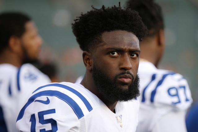Indianapolis Colts wide receiver Parris Campbell stands on the sideline during the first half of the team's NFL preseason football game against the Cincinnati Bengals, Thursday, Aug. 29, 2019, in Cincinnati. (AP Photo/Gary Landers)