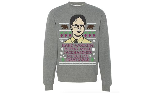 "<p>Bears, beets, bows tied around this truly ugly, but still cool, Dwight Schrute ugly Christmas sweater, a fine gift for any fan of that Dunder Mifflin crew from Scranton, PA. <strong><a href=""https://store.barstoolsports.com/products/hard-working-ugly-sweater-grey-sweatshirt?utm_medium=cpc&utm_source=googlepla&variant=32719900614&gclid=EAIaIQobChMI3J-94uDS1wIVnYSzCh3PFARiEAYYASABEgJls_D_BwE"" rel=""nofollow noopener"" target=""_blank"" data-ylk=""slk:Buy here"" class=""link rapid-noclick-resp"">Buy here</a></strong> </p>"