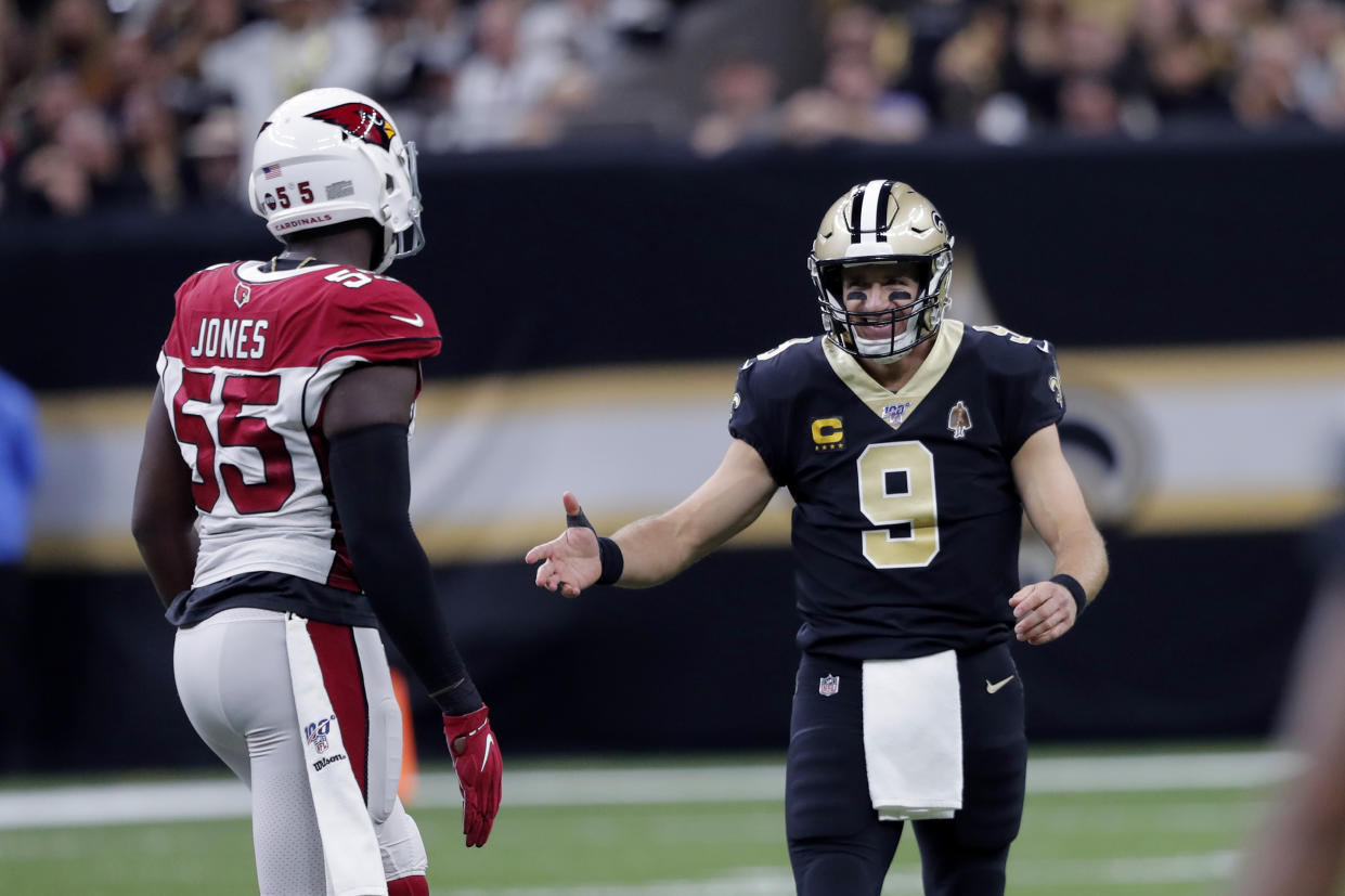 New Orleans Saints quarterback Drew Brees, with a wrap on his surgically-repaired right thumb, returned to the starting lineup on Sunday. (AP/Bill Feig)