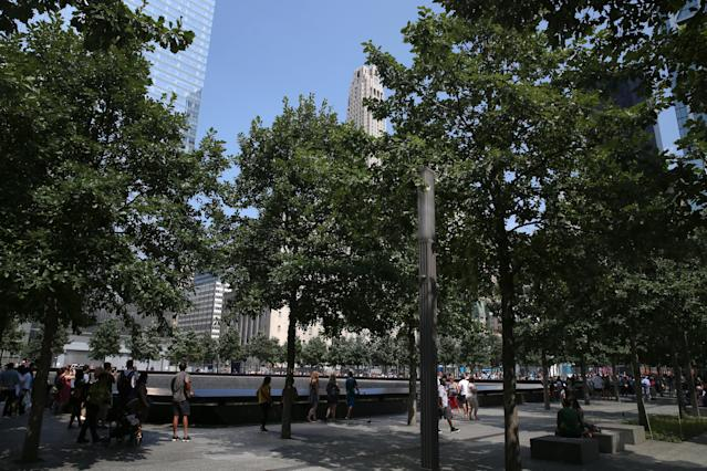 <p>A view of lower Manhattan from one of two reflecting pools at the National September 11 Memorial & Museum where the original One World Trade Center once stood, on Aug. 20, 2017. (Photo: Gordon Donovan/Yahoo News) </p>