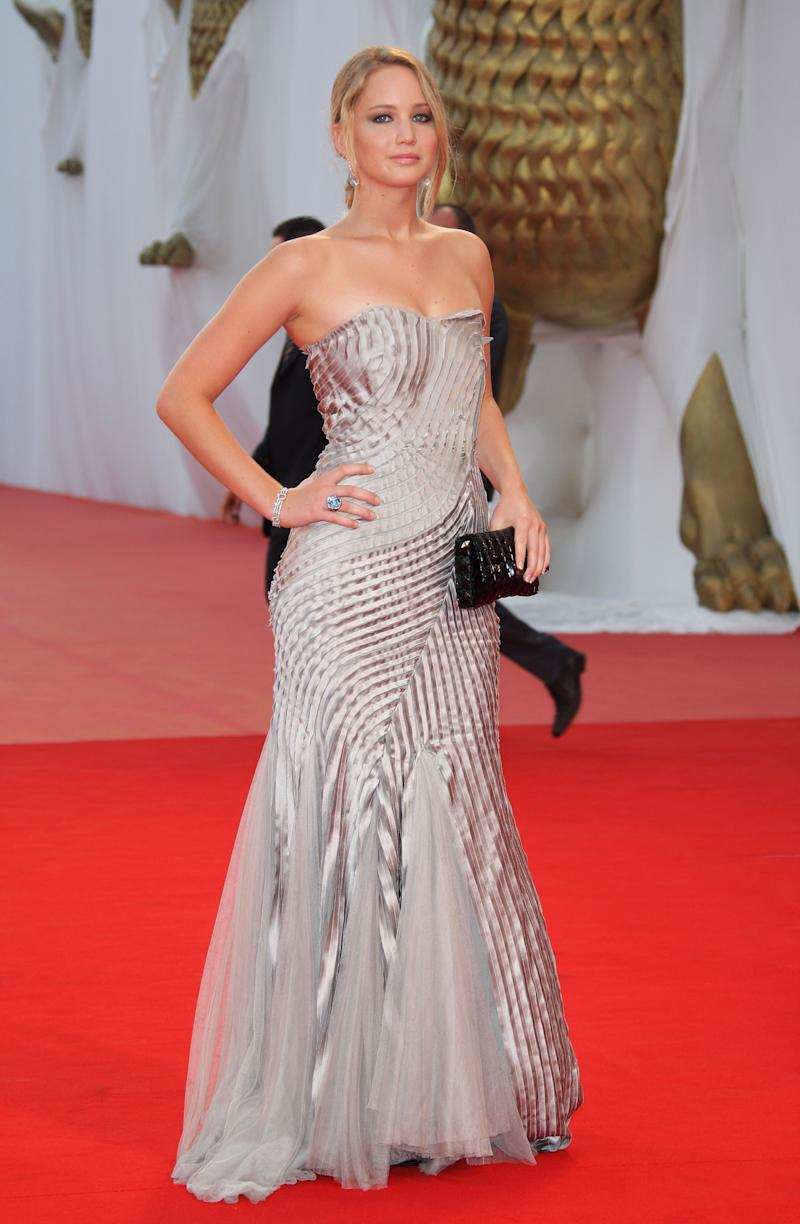 As a Hollywood newbie, Jennifer Lawrence first proved that she has style by wearing a strapless silver mermaid-styled gown with intricate pleating detail to the 65th Venice Film Festival closing ceremony.