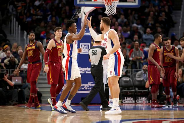 DETROIT, MI - NOVEMBER 19: Stanley Johnson #7 and Blake Griffin #23 of the Detroit Pistons high five during the game against the Cleveland Cavaliers on November 19, 2018 at Little Caesars Arena in Detroit, Michigan. (Photo by Brian Sevald/NBAE via Getty Images)