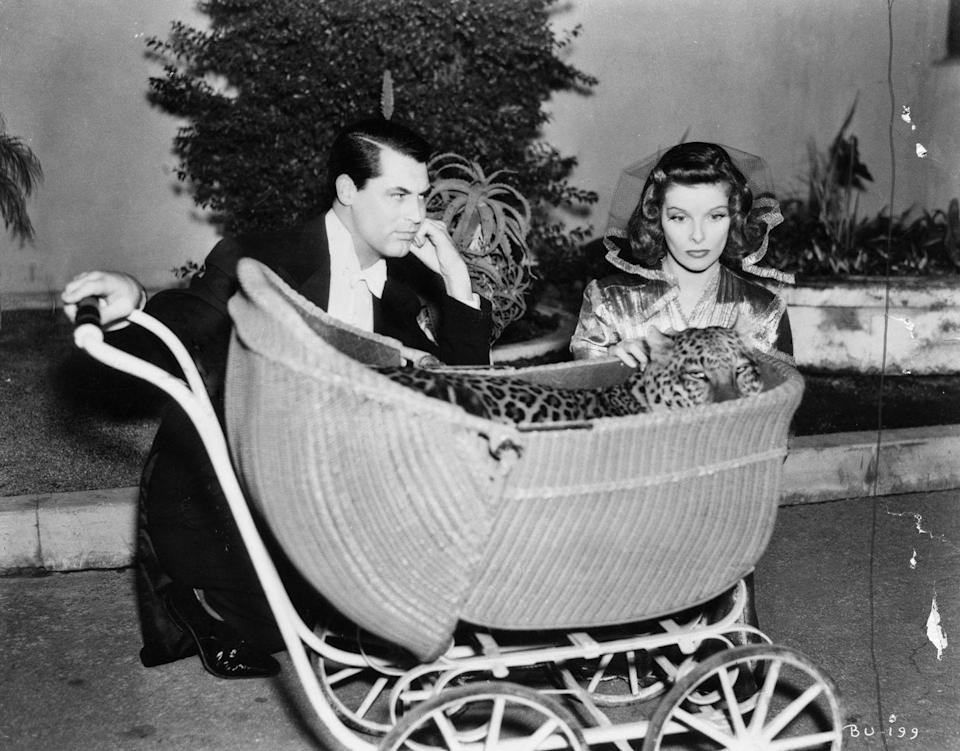 <p>In the 1938 film <em>Bringing Up Baby</em>, Grant shared the screen with Katharine Hepburn, Jimmy Stewart, and a leopard named Nissa. The screwball comedy, which was initially a flop, is now considered one of cinema's classic films.</p>
