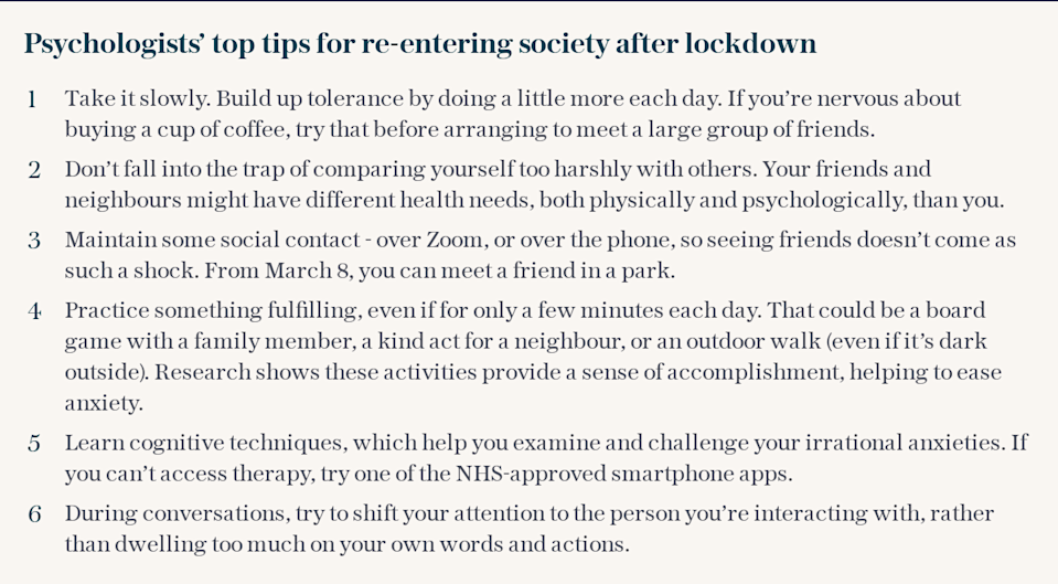 Psychologists' tips for re-entering society after lockdown