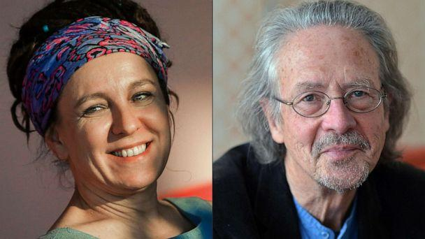 PHOTO: Polish author Olga Tokarczuk, left, and Austrian novelist and playwright Peter Handke, right. Tokarczuk won the 2018 Nobel Literature Prize, which was delayed over a sexual harassment scandal, and Peter Handke took the 2019 award. (Beata Zawrel/APA/AFP via Getty Images)