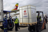 FILE - In this Monday, Feb, 15, 2021 file photo, a forklift carries a pallet of the Sinopharm COVID-19 vaccine from China upon its arrival at Robert Mugabe International airport in Harare, Zimbabwe, as part of the the country's first 200,000 COVID-19 vaccine doses. (AP Photo/Tsvangirayi Mukwazhi)
