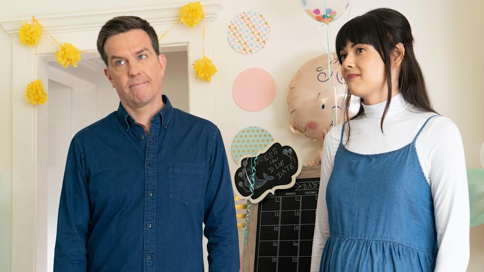 """Matt (Ed Helms) and Anna (Patti Harrison) navigate boundary issues and form a close bond in """"Together Together."""""""