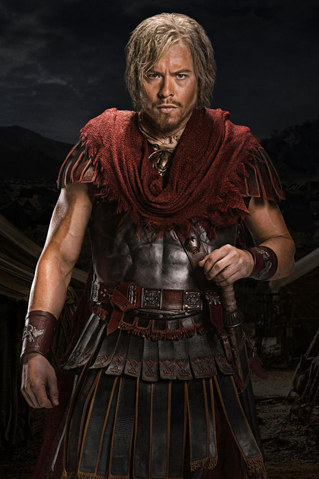 "Todd Lasance as Caesar in ""Spartacus: War of the Damned"" on Starz."