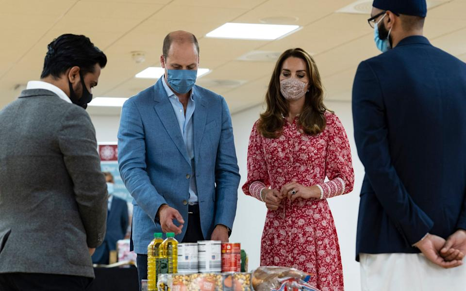 The Duke and Duchess of Cambridge during a visit to the East London Mosque where they chatted to volunteers who cooked and delivered meals to vulnerable members of the community during the pandemic - Ian Vogler