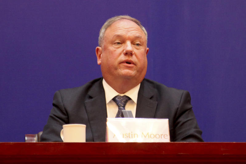 Austin Moore, an attache to China for the U.S. Homeland Security Department, speaks during a press conference on cracking down on fentanyl trafficking in Xingtai in northern China's Hebei province Thursday, Nov. 7, 2019. A Chinese court sentenced nine fentanyl traffickers Thursday in a case that was a culmination of a rare collaboration between Chinese and U.S. law enforcement to crack down on global networks that manufacture and distribute lethal synthetic opioids. (AP Photo/Erika Kinetz)