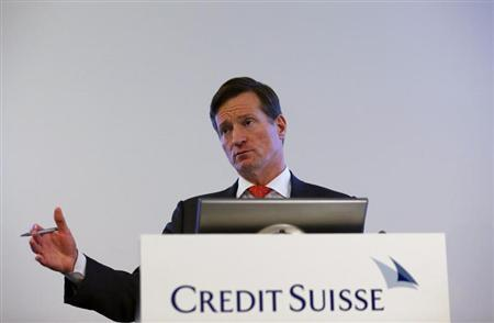 Dougan, CEO of Credit Suisse, addresses the full year results conference in Zurich